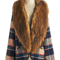 ModCloth Vintage Inspired Long Long Sleeve Fur-Ever Young Coat