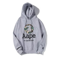 Bape Aape New Fashion letter camouflage pattern couple hooded long sleeve sweater Gray