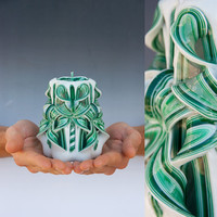 Carved candle - Green candle - Small candle
