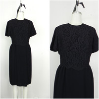 Vintage 1950s Dauphine Black Lace Floral Dress