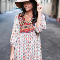 Serene Printed Boho Dress - Beige Multi
