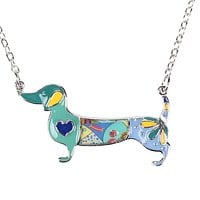 Women's Unique Blue Colorful Design Enamel Dachshund Weiner Dog Pendant/Charm Necklace with Box Chain Silver Tone