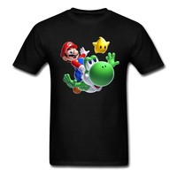 Super Mario party nes switch Short Casual T Shirt Man  Galaxy T with  Yoshi Luma Customize T-Shirts Teenager AT_80_8