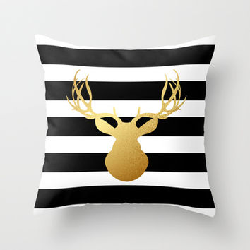 Deer head silhouette - Gold foil black and white stripe design Throw Pillow by Jaclyn Rose Design