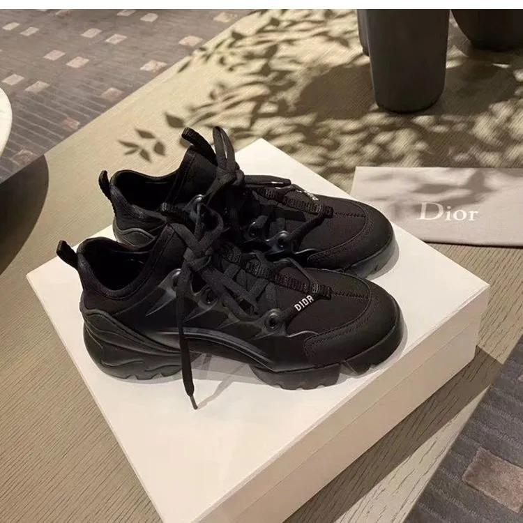 Image of Dior New thick-soled casual all-match increased running sneakers Shoes Black