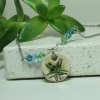 Starfish Beach Aromatherapy Necklace Miniature Pendant Handmade pottery necklace