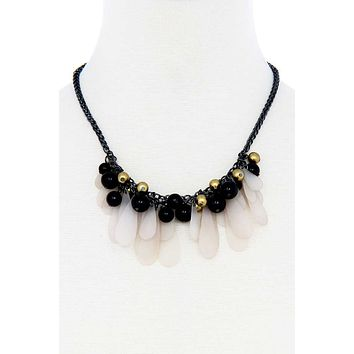 Black And Gold Balls With Tassel Statement Necklace