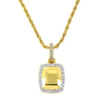 """Men's 18k Gold Finish Fashion  3D Dog Tag Pendant with 24"""" Rope Chain"""