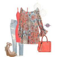 Set 446: Coral Dainty Print Blouse (includes top, tank & earrings)