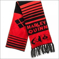 Harley Quinn DC Comics Costume Cosplay Knit Acrylic Fringe Jacquard Scarf 6.75ft