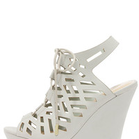 Scissor Kicks Light Grey Cutout Platform Wedges