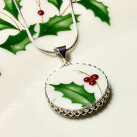 Broken China Necklace Jewelry, Holiday Lenox, Christmas Necklace, Made from China Necklace, Sterling Silver, Christmas Jewelry, Gift for Her