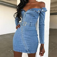 Autumn and winter new word collar long sleeve custom metal zipper denim slim bag hip dress  Blue