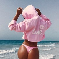 Hoodies Tops Winter Women's Fashion Print Crop Top Long Sleeve Hats [28275769370]