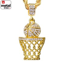 """Jewelry Kay style Men's Hip Hop Iced Out 14k Gold Basketball Hoop Pendant 24"""" Rope Chain HC 1109 G"""