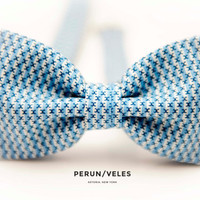Men's Bow Tie Pre-Tied Light Blue & White Stripe Fabric With Small Prints - PERFECT VALENTINES GIFT
