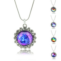 NEW BRAND Fashion Cabochon Jewelry Vintage Choker Antique Silver Alloy Galaxy Collar Statement Necklaces For Women Men 2015