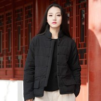 Johnature 2018 Winter New Women Stand Cotton Linen Jackets Button Vintage Long Sleeve Warm Clothes Loose Brief Women Jackets