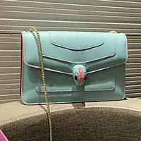 Bvlgari High Quality Fashion Women Leather Chic Buckle Satchel Crossbody Shoulder Bag Blue
