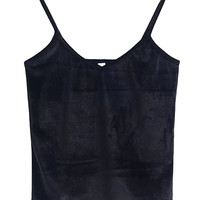 Black V-neck Velvet Cropped Cami Top