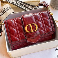 Hipgirls Dior New fashion leather shoulder bag crossbody bag Burgundy