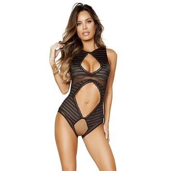 Sexy Felicity Crotchless Bottom Teddy with Cutouts and Stripes
