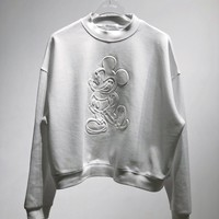Women Cartoon Mickey Mouse Solid Color Embossing All-match  Fashion Letter Logo Embroidery Long Sleeve Sweater Tops