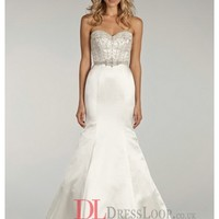 Beaded Bodice With Sweetheart Neckline Satin Trumpet Bridal Gown LL4407