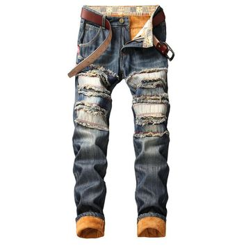 Men Slim Ripped Holes Thicken Winter Jeans [1574710542429]