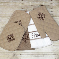 Monogrammed personalized kitchen towel set  includes 2 monogrammed potholders, 2 personalized kitchen towels & monogrammed oven mitt