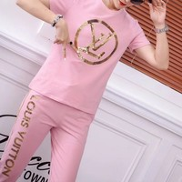 """""""Louis Vuitton"""" Woman Casual  Fashion Letter Sequins Print Short Sleeve Trousers Two-Piece Casual Wear"""