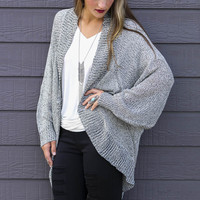 Rising Moon Heather Gray Ribbed Knit Cocoon Cardigan