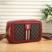 Onewel LV Louis Vuitton small square bag Crossbody Bag Stripe red white bag red