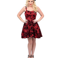 Maroon & Black Velvet Floral Fit N Flare Short Dress