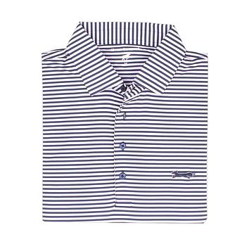 Longshanks Striped Performance Polo in Navy & White by Country Club Prep