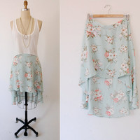 Floral HIGH LOW skirt floral print / vintage 90's middy flowy pastel / Haus of Mirth M L medium large