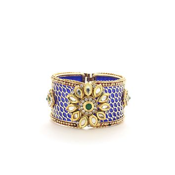 Ethnic Openable Blue plated With Polki Gift for Women