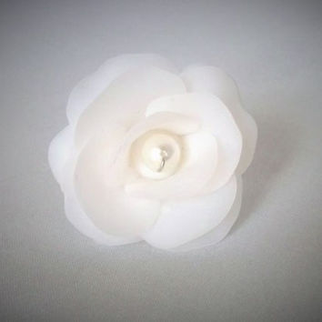 White Rose Ring, Statement Ring, Polymer Clay Jewellery, Bridal Jewellery