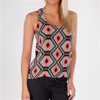 One Clothing Juniors Geometric Print Tank with Solid Knit Back at Dry Goods