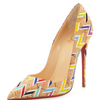 Christian Louboutin So Kate Chevron Cork Red Sole Pump, Multi LAVELIQ