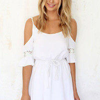 White Lace Panel Strappy Skater Dress