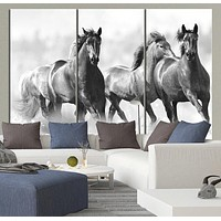 Large Wall Art Running Wild Horses Canvas Print 3 Panel Large Horse Canvas Art Print MC40