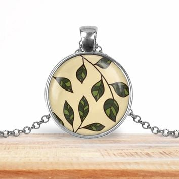 Tree branch leaves pendant necklace, choice of silver or bronze, key ring option