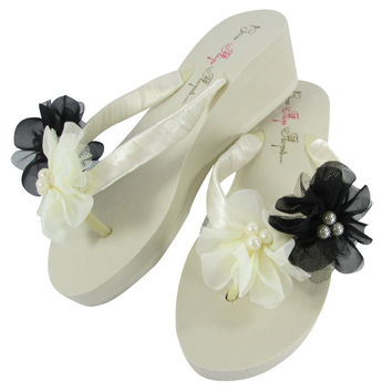 Black Pearl Chiffon Flower Bridal and Bridesmaid Flip Flops