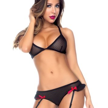 Microdot Bra and Laceup Panty Set with Detachable Garters