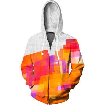 Abstract Paint Zip Up Hoodie