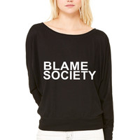 BLAME SOCIETY WOMEN'S FLOWY LONG SLEEVE OFF SHOULDER TEE