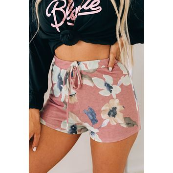 Morning Routine Floral Knit Shorts (Mauve)