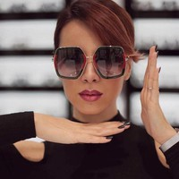 Square Luxury Sun Glasses Brand Designer Ladies Oversized Crystal Sunglasses Women Big Frame Mirror Sun Glasses For Female UV400