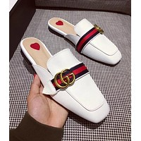 Hot Sale GUCCI Fashion Women Casual Blue Red Stripe Metal Letter Buckle Half Slipper Sandals Shoes White I-ALS-XZ